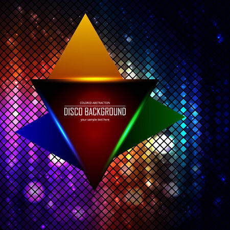 lighten: Lighten triangle on the disco colored abstraction background