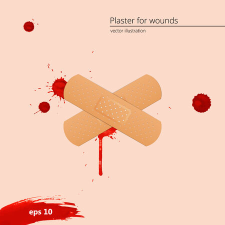 paint drop: Blood drops and frame with medical plaster