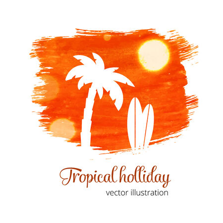 holliday: Orange watercolor splash with palm silhouette Illustration