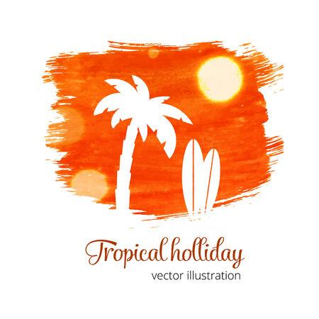 siervo: Salpicaduras de acuarela naranja con la silueta de palma Vectores