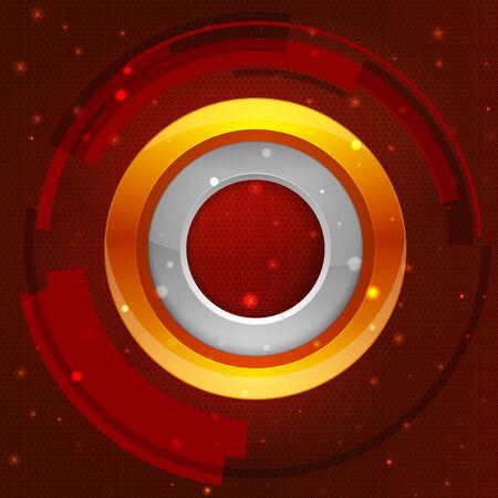 circle frame: 3D tech circle frame on a orange background. Vector illustration