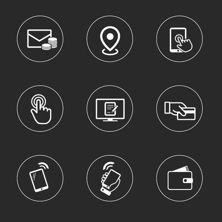 email icon: Business icon set, outline flat collection