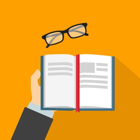reading a book: Reading book and glasses flat vector illustration Illustration