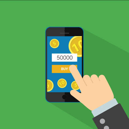 phone hand: Phone in hand for buy, vector flat illustration