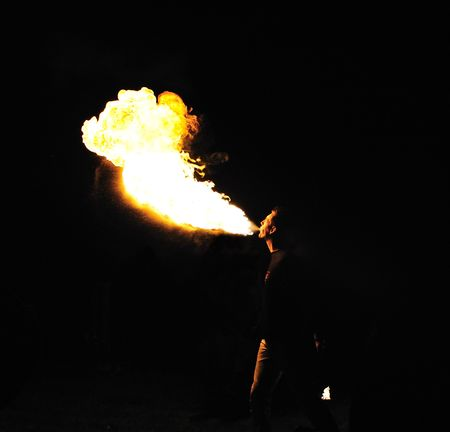 fire show: Entertainer:  Man Breathing Fire