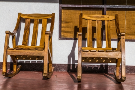rustic wood chairs Stock Photo - 24537495