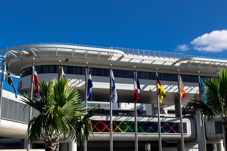 view of miami international airport flags Editorial