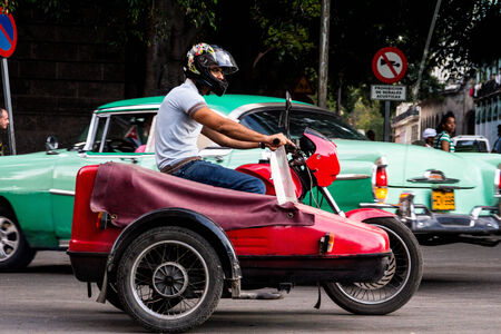 collectible: old motorcycle in cuba Editorial