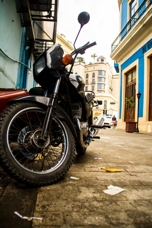 old motorcycle in cuban street