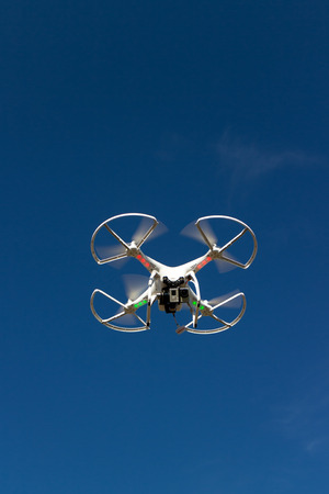 white drone with cam Stock Photo