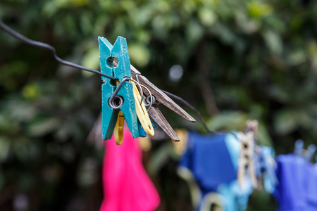 nicaraguan: Hung clothes of a thread in Nicaraguan house Editorial