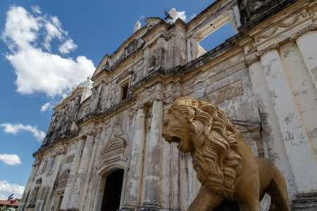 statue Lion Cathedral of Leon Nicaragua Central America Stock Photo