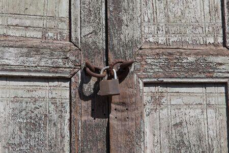 locker detail from antique wood door photo