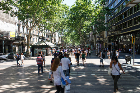 singular architecture: Barcelona, Catalunya- june 12th 2015: street view with people in Las Ramblas Editoriali