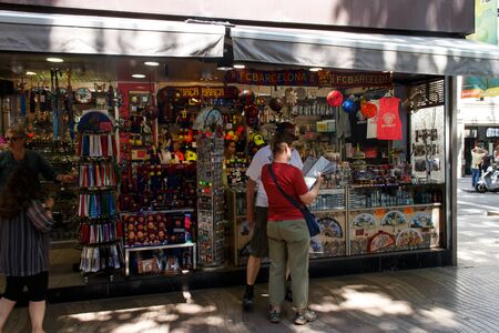 singular architecture: Barcelona, Catalunya- june 12th 2015: street view with people in Las Ramblas Editorial