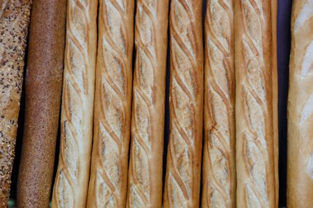 traditionally french: french bread group closeup photograph