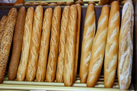boulangerie: french bread group closeup photograph