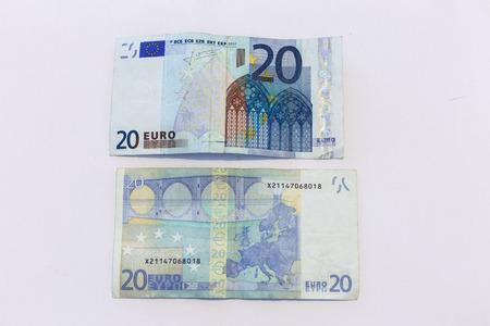 twenty: twenty euro ticket isolated on white