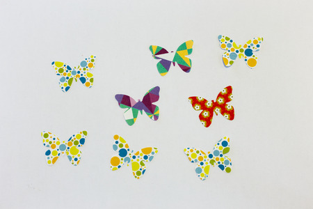 patchwork butterfly isolated on white