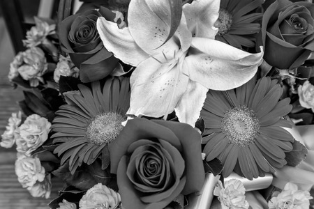 bw: BW flowers bouquet arrange for decoration in home Stock Photo