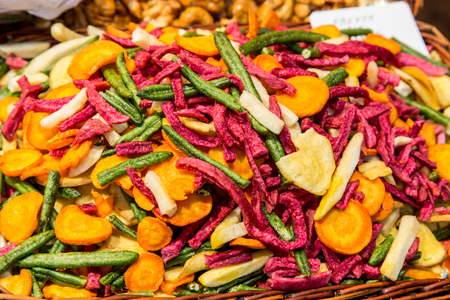 boqueria: dried fruits closeup from La Boqueria Market in Barcelona Stock Photo