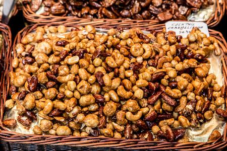mercat: dried fruits at Mercat de Sant Josep de La boqueria Market in Barcelona Stock Photo
