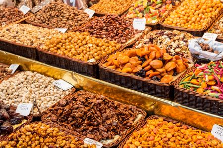 josep: dried fruits at Mercat de Sant Josep de La boqueria Market in Barcelona Stock Photo