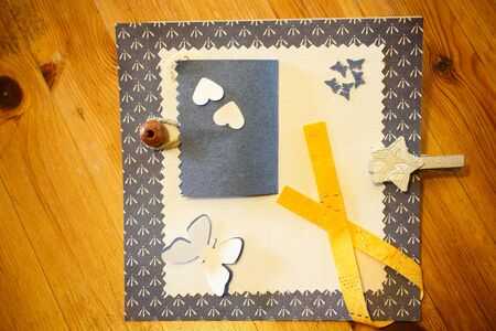patchwork: patchwork pieces on wooden background