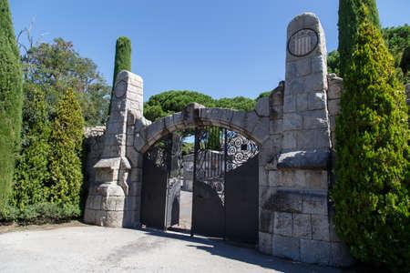 main gate: Cardedeu, Catalonia, August 24, 2015: Main entrance Old Cemetery of Cardedeu Editorial