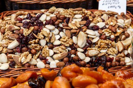 la boqueria: dried fruits closeup from La Boqueria Market in Barcelona Stock Photo