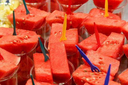 juicy: Fresh juicy cut watermelon served up