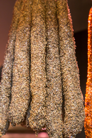 mercat: Catalan dry sausages, fuet market in Barcelona Stock Photo