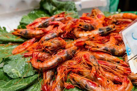 la boqueria: raw shrimps on la boqueria market in Barcelona, Catalonia, Spain.