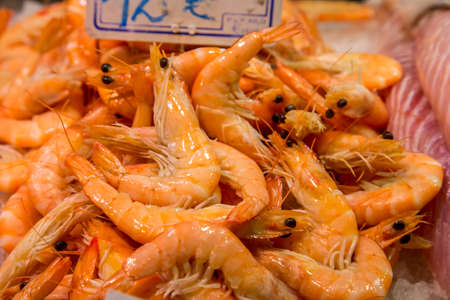 boqueria: raw shrimps on la boqueria market in Barcelona, Catalonia, Spain.