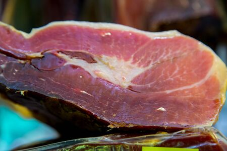 jamon: Jamon Serrano hams pieces Stock Photo