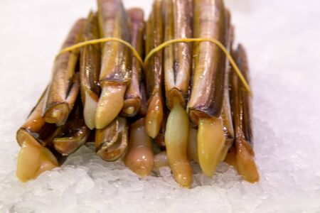 ensis: raw razor shells clams on ice for sale at market Stock Photo