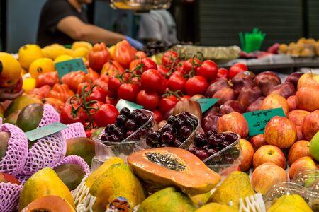 la boqueria: fruit market place from La Boqueria market, Barcelona, Spain.