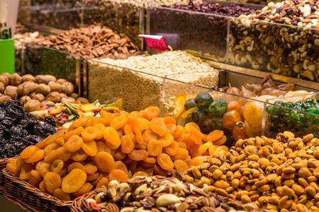 la boqueria: dried fruits market place from La Boqueria market, Barcelona, Spain. Stock Photo
