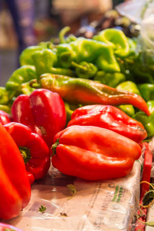 red peppers: red peppers in marketplace