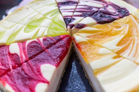 diferent: diferent types of cheesecake, colorful Stock Photo