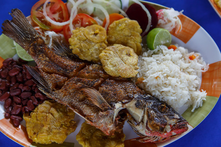 fish plate: fried fish plate nicaraguan style Stock Photo