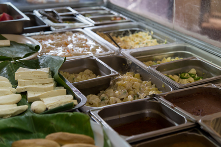 show case: Trays of prepared food on buffet from Nicaragua Stock Photo