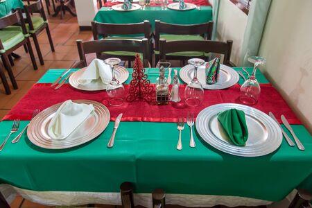 christmas motive: prepared table to eat on restaurant, christmas motive