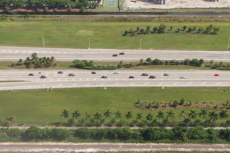 diferent: aerial view of diferent road in miami area, 7 june 2015