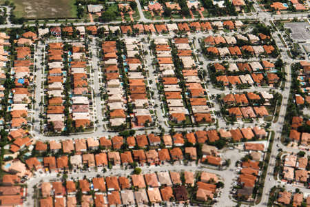 waterfront property: An aerial view of typical residential property found in the Miami area.
