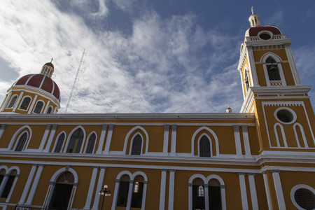 priest: Cathedral of Granada, Outdoors view, Nicaragua, Central America.