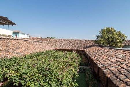 residential house: Background of old roof tiles from colonial House in Nicaragua