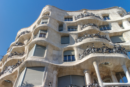 decorative balconies: La Pedrera, Famous building was designed by Antoni Gaudi and is one of the most visited in the city. Editorial