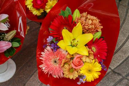 sidewalk sale: Flowers outside of flower shop in Las Ramblas Street, Barcelona Stock Photo