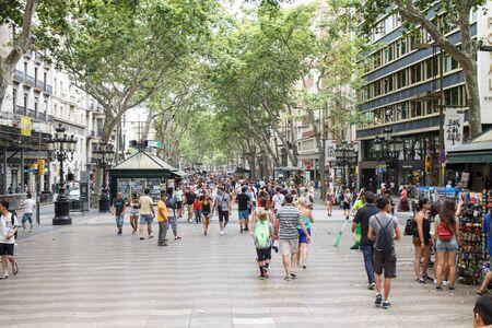 the ramblas: Barcelona, Catalunya, Spain - July 26, 2015: People in Las Ramblas Street, tourism Editorial